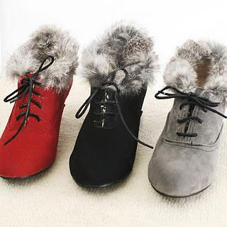 Picture of KAWO Angola Goat Lace-Up Kitten-Heel Pumps 1022759849 (Pump Shoes, KAWO Shoes, China Shoes, Womens Shoes, Womens Pump Shoes)
