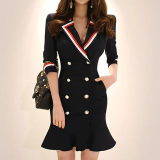Image of 3/4-Sleeve Double-Breasted Mini Dress