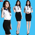 Panel Shirt / Pencil Skirt 1596