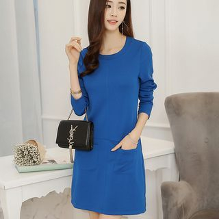 Pocketed Plain Long Sleeve Dress