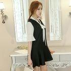 Tie Neck Elbow Sleeve Dress 1596