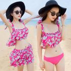 Set: Floral Print Bikini + Cover-Up Skirt 1596