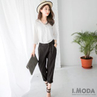 Quality Pleated Cropped Pants 1596