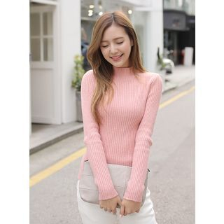 Mock-Neck Ribbed Slim-Fit Sweater 1055129526