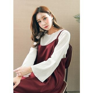 Long-Sleeve Frill-Edge Ribbed T-Shirt 1061626026