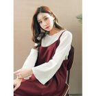 Long-Sleeve Frill-Edge Ribbed T-Shirt 1596