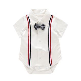Baby Bow Short-Sleeve Collared Bodysuit