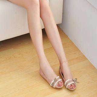 Buy KAWO Ribbon-Trim Peep-Toe Flats 1022893036