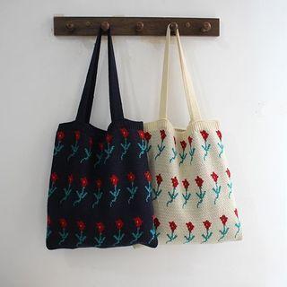 Knit Floral Shoulder Bag