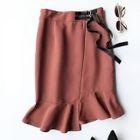 Asymmetric Ruffle Hem Midi Skirt 1596