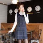 Check-Panel Sleeveless Dress 1596