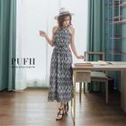 Pattern Halter Maxi Dress 1596
