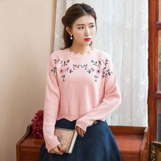 Scalloped Trim Embroidery Rib Sweater 1063047842