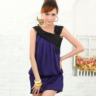 Buy doremi Drop-Waist Pleated Panel Dress Purple – One Size 1022868163