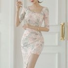 Elbow-Sleeve Floral Sheath Dress 1596