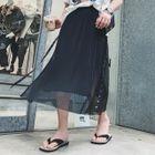 Studded Accordion Pleat Chiffon Skirt 1596