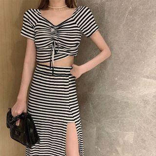 Image of Set: Short-Sleeve Striped Drawstring Crop Top + Slit Midi A-Line Skirt