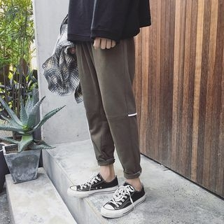 Contrast Trim Tapered Pants
