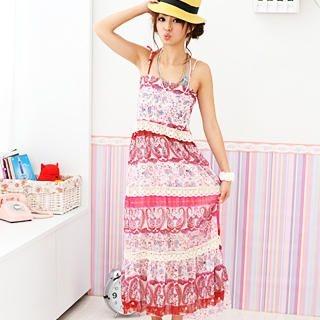 Buy 59 Seconds Crochet-Trim Paisley Chiffon Maxi Dress Magenta – One Size 1022872098