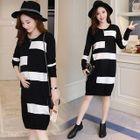 Maternity Long-Sleeve Color Block Sweater Dress 1596