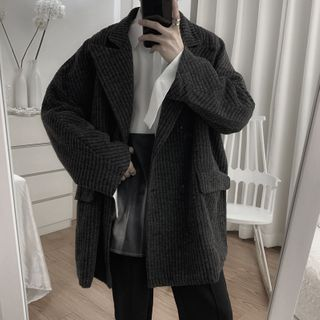 Image of Double-Breasted Ribbed Jacket
