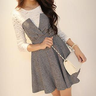 Mock Two-Piece Houndstooth Dress 1038571191