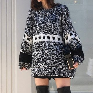Image of Melange Chunky Sweater As Shown In Figure - One Size