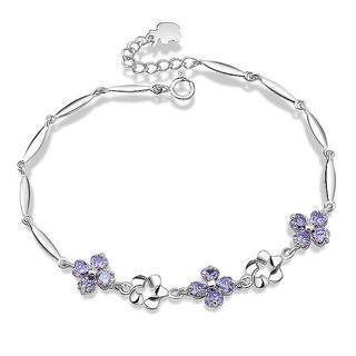 Purple cubic zirconia floral bracelet
