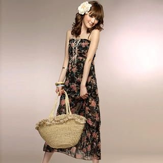 Buy Tokyo Fashion Lace-Up Floral Chiffon Maxi Dress 1022716240
