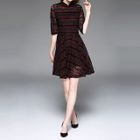 Elbow-Sleeve Lace A-Line Dress 1596