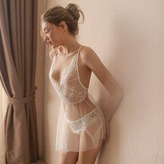 Set: Lace Nightdress + Thong 1064777708