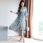 Set: Floral Print Elbow-Sleeve A-Line Midi Dress + Strappy Dress 1596