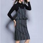 Set: Long-Sleeve Knit Top + Striped Peplum Dress 1596