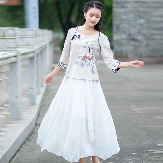 Image of 3/4-Sleeve Contrast Trim Top / Midi Skirt