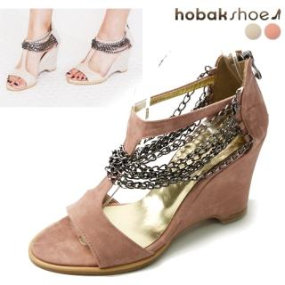 Buy HOBAK girls Chain-Accent Wedge T-Strap Sandals 1022883614