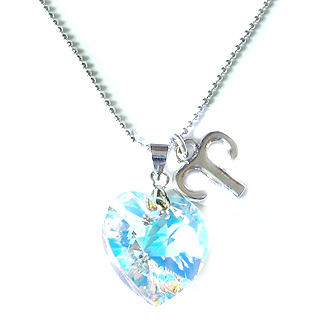 Sweet Aries - Zodiac Sign Necklace with Swarovski Sparkling Crystal Heart Silver - One Size