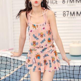 Set : Print Bikini + Frilled Cover-up Top + Skirt 1057587061