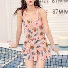 Set : Print Bikini + Frilled Cover-up Top + Skirt 1596