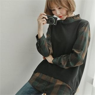 Inset Sleeveless Knit Top Plaid Shirt 1062763210
