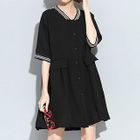 Tipped Elbow Sleeve Button Down Dress 1596