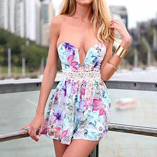 Strapless Floral Print Dress