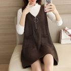 Set: Mock Neck Knit Top + Pinafore Dress 1596