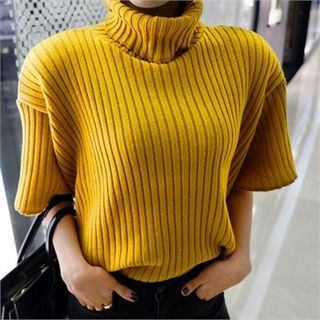 Turtle-Neck Short-Sleeve Ribbed Knit Top 1057113434