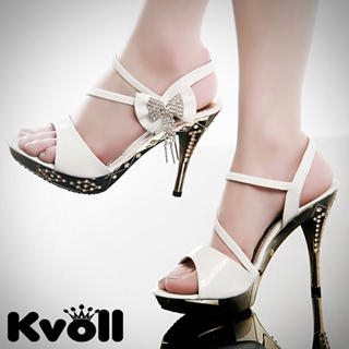 "Buy Kvoll Rhinestone ""Bow"" Platform Patent Sandals 1022532856"