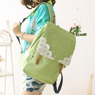 Applique Buckled Flap Canvas Backpack
