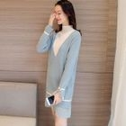 Pleated Hem Color Block Sweater Dress 1596