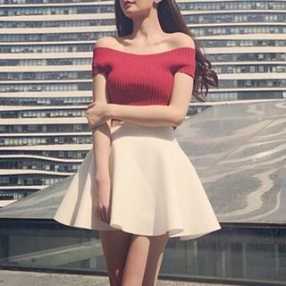 Set: Ribbed Off-Shoulder Top + A-Line Skirt 1058054541