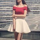 Set: Ribbed Off-Shoulder Top + A-Line Skirt 1596