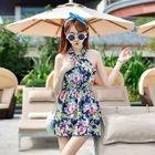Set: Floral Print Swimdress + Swim Shorts 1596