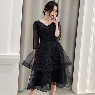Image of 3/4 Sleeve V-Neck Glittered Layered Cocktail Dress